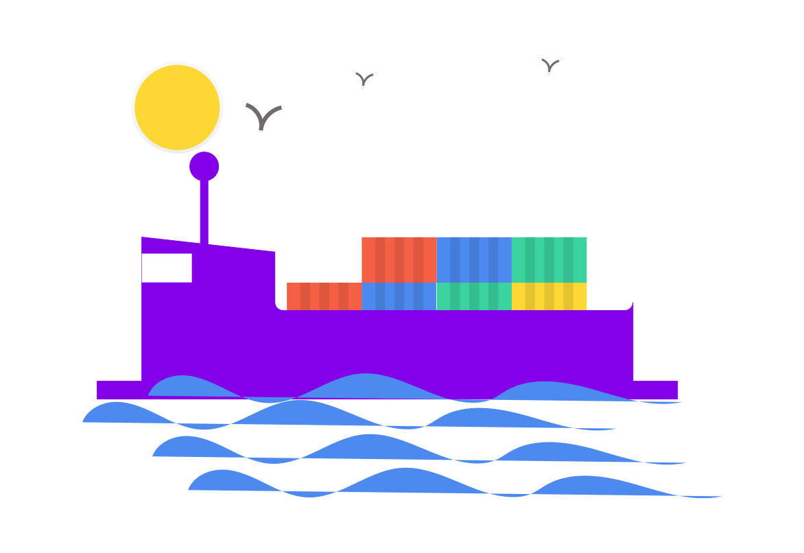 container ship graphic